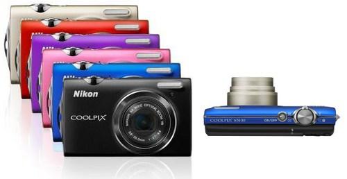 Coolpix S5100 in verschiedenen Farben und Ansicht von oben
