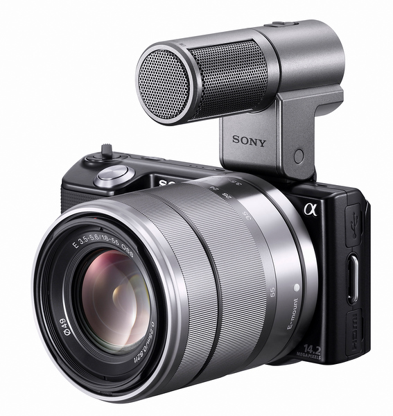 Sony NEX-5 mit Mikrofon