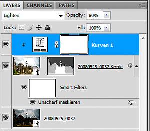 Screenshot der Adjustments-Palette