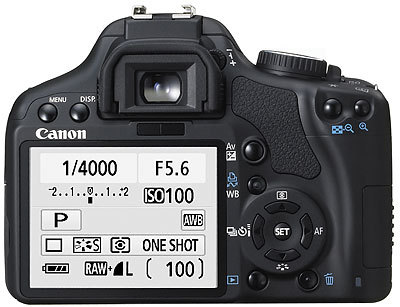 Foto der EOS 450D von hinten