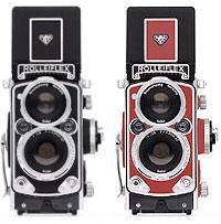 Foto der Farbvarianten schwarz und rot der Rolleiflex MiniDigi AF 5.0