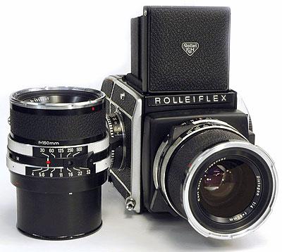 Foto der Rolleiflex SL 66 mit Distagon 4/80mm (angesetzt) und Sonnar 4/150mm (stehend)