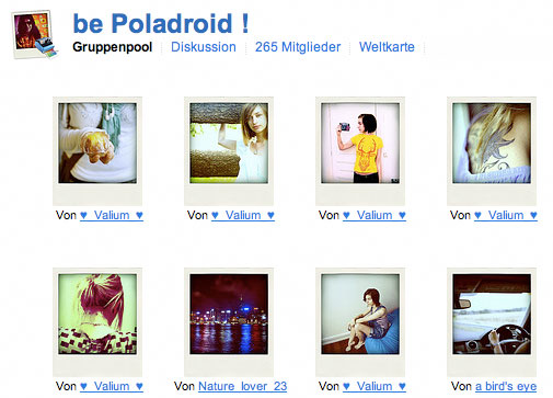 Screenshot Poladroid bei flickr