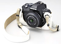 Foto der E-420 in Retro-Kameratasche