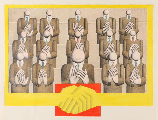 Arbeit: Hans Ticha, Applaudierendes Podium, 1979