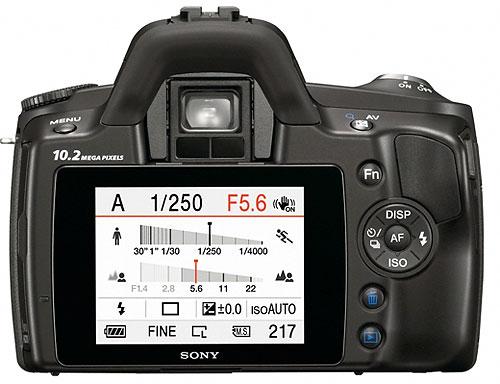 Foto der Rückseite der α230 von Sony