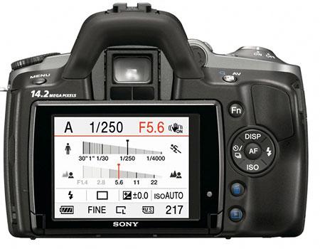 Foto der Rückseite der α380 von Sony