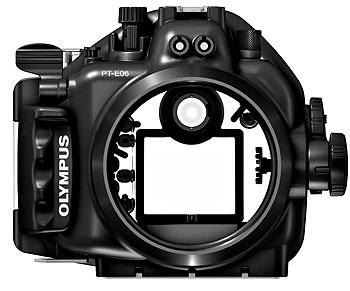 Foto des Unterwassergehäuses PT-E06 von Olympus