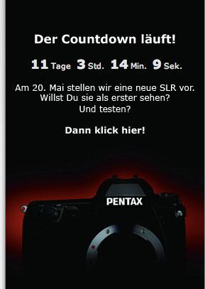 Screenshot Pentax D, Zeit-Zähler bis zur Vorstellung der Kx