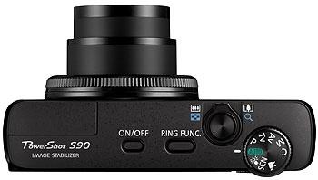 Foto der Oberseite der PowerShot S90 von Canon