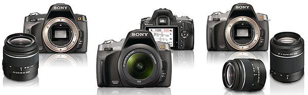Foto der Modelle α230, α330 und α380 von Sony