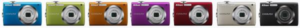 Foto der Farbvarianten der Coolpix S3000 von Nikon