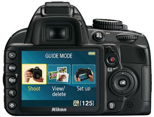 Foto der Rückseite der D3100 von Nikon