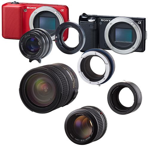 Foto diverser Novoflex-Adapter für NEX E-Bajonett