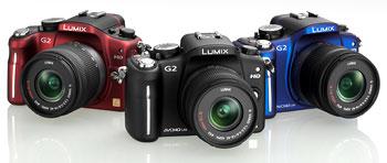 Foto der Lumix G2 von Panasonic in drei Farben