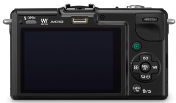 Foto der Rückseite der Lumix GF2 von Panasonic