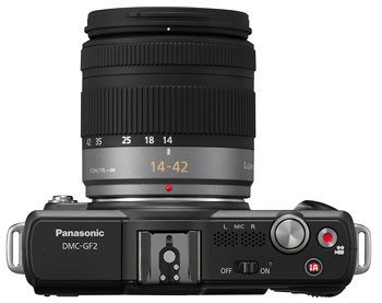 Foto der Oberseite der Lumix GF2 von Panasonic