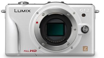 Foto der weißen Lumix GF2 von Panasonic