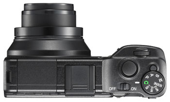 Foto der Oberseite der Ricoh GXR mit Sensormodul P10