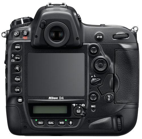Foto der Rückseite der D4 von Nikon