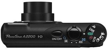 Foto der Oberseite der PowerShot A2200 von Canon