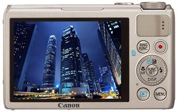 Foto der Rückseite der PowerShot S100 von Canon