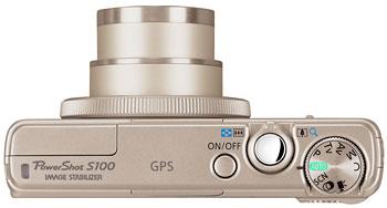Foto der Oberseite der PowerShot S100 von Canon
