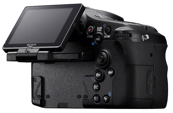 Foto der Rückseite der SLT-A77 von Sony