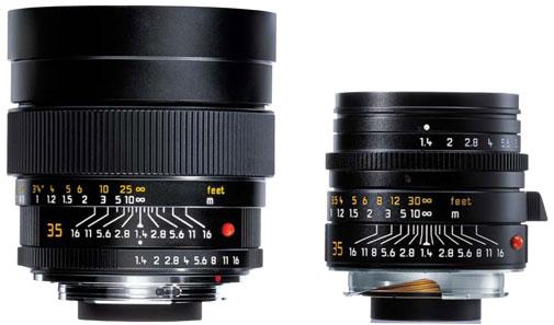 Zweimal das Summilux 1,4/35mm: links in der R-Variante, rechts in M-Ausführung