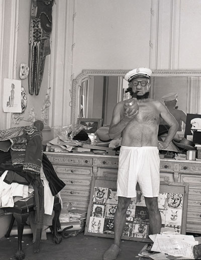 Foto André Villers, Picasso als Popeye, Cannes 1957