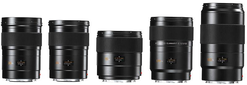 Foto von fünf Leica-S-Objektiven mit Zentralverschluss