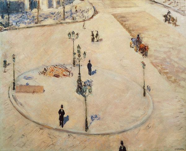 Gustave Caillebotte, Eine Verkehrsinsel, Boulevard Haussmann, 1880