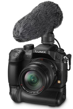 Foto der Lumix GH3 mit Mikrofon DMW-MS2