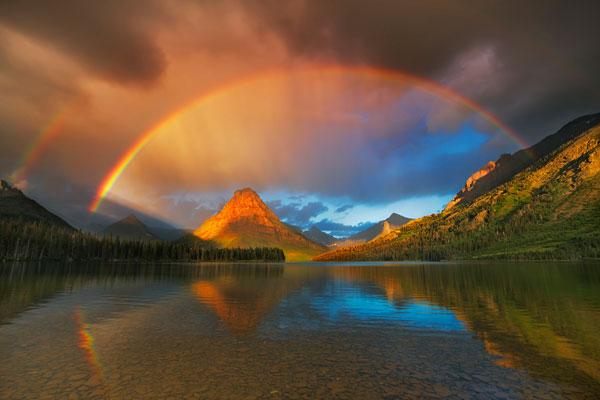 Foto Frank Krahmer (GDT), Deutschland, Regenbogen über dem Two Medicine Lake