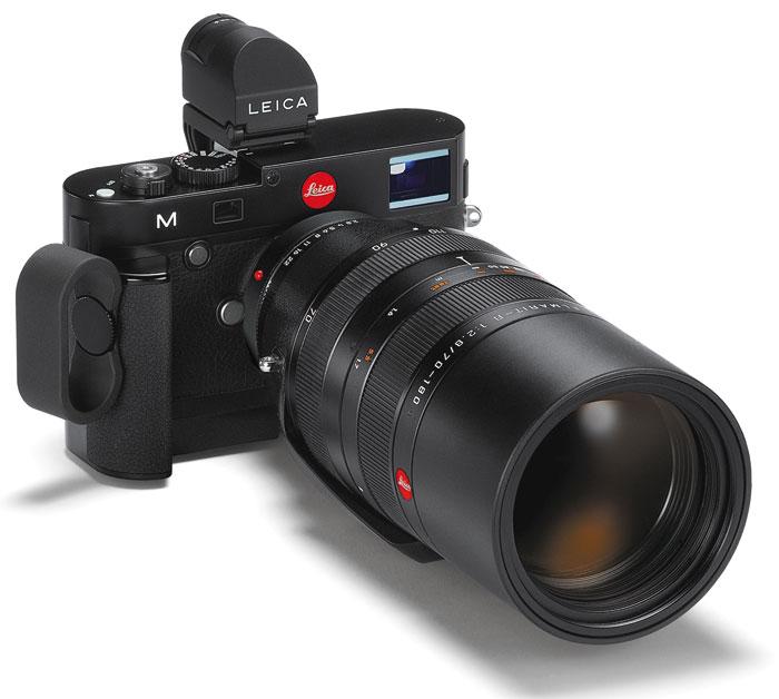 Foto Leica M mit R-Adapter M (und Elmarit-R 2,8/70-180mm), Visoflex-Aufstecksucher und Multifunktionshandgriff-M