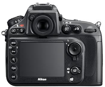 Foto der Rückseite der D800E von Nikon