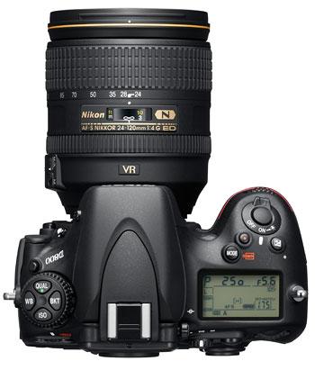 Foto der Oberseite der D800 von Nikon