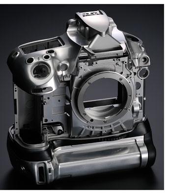 Foto des D800-Gehäuses aus Magnesiumlegierung