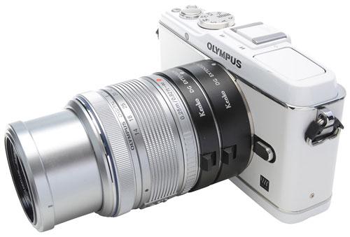 Foto der Kenko-Zwischenringe an MFT-Kamera