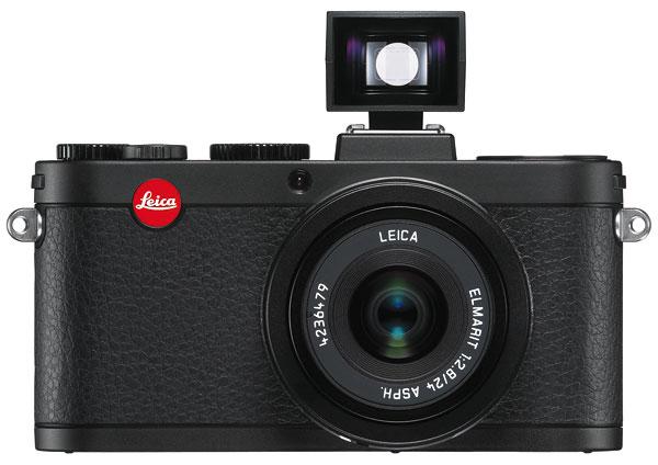 Foto der Leica X2 mit Aufsteck-Spiegelsucher
