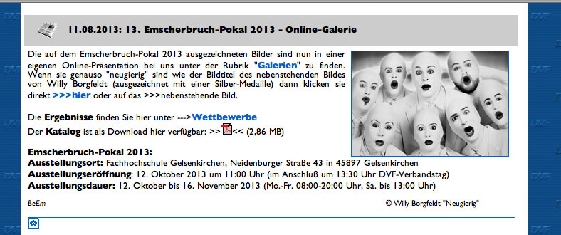 Screenshot der Webseite DVF-Land WESTFALEN