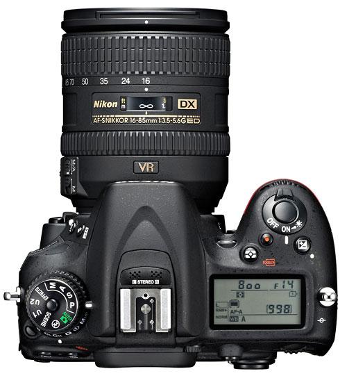 Foto der Oberseite der D7100