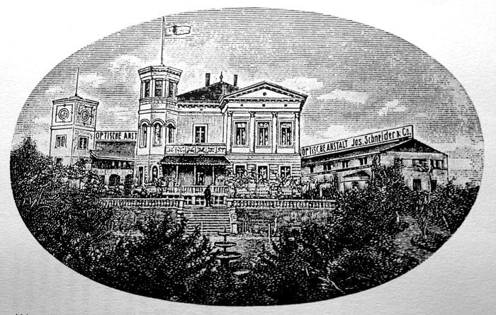 Grafik / Druck der Villa Schneider mit Werk (ca. 1913)