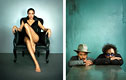 Fotos Marc Hom; links: Angelina Jolie, Los Angeles, 2007 - rechts: Johnny Depp & Tim Burton, New York, 2008