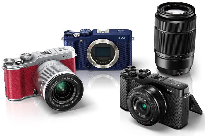 Foto der Farbvarianten der Fujifilm X-A1