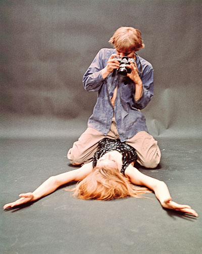 Tazio Secchiaroli, David Hemmings und Veruschka von Lehndorff in Blow-Up