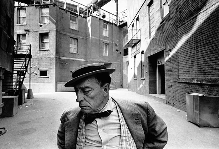 Lawrence Schiller, Buster Keaton, MGM back lot, 1965