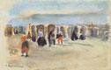 Max Liebermann, Strandszene in Nordwijk, 1908, Pastell