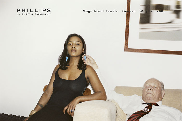 Foto Juergen Teller, Ed's Godmother, Stephanie Simon Hale and Artur Teller, Werbung für Phillips de Pury & Co Magnificent Jewels, London, 2005