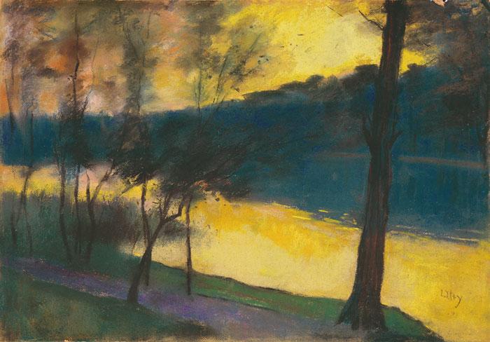 Lesser Ury, Märkischer See bei Sonnenuntergang, um 1900